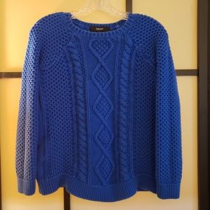 Blue Cotton Knit Sweater